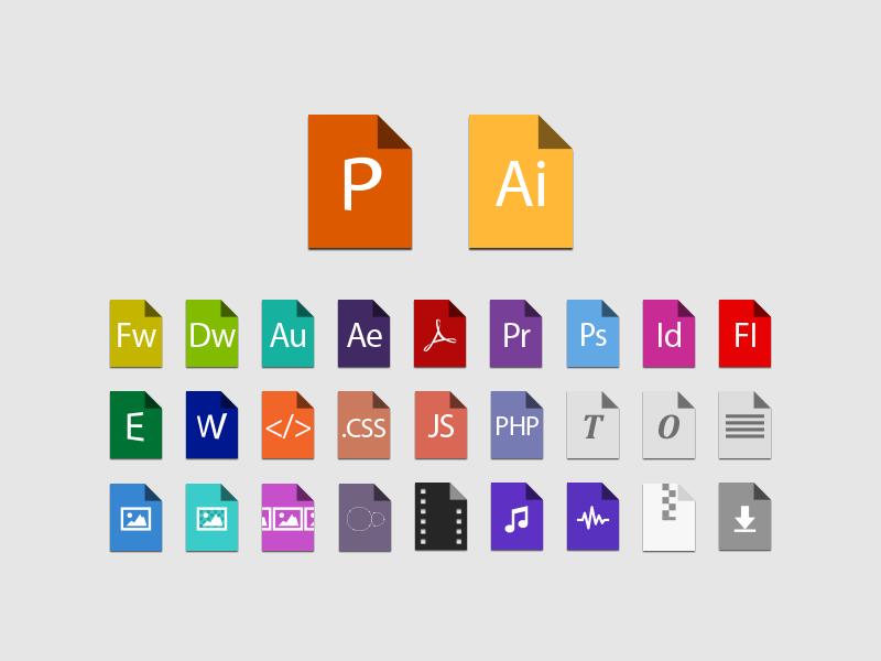 Flat color file type icons freebie flat icon file file type flat design psddd