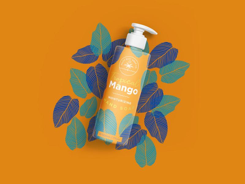 Summer Vibes Hand Soap in Tropical Mango icondesign photoshop illustraion illustrator summervibes summertime graphicdesign packaging packaging design