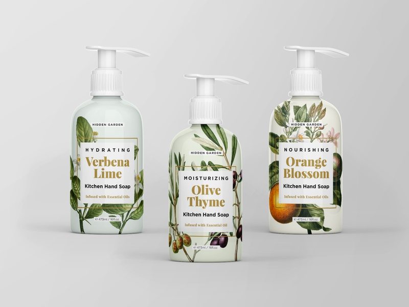 Kitchen Hand Soap  |  Hidden Garden Line productline design graphicdesign photoshop illustrator packaging mockup packaging design productdesign graphicdesigner