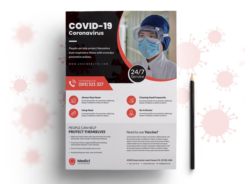 Coronavirus (Covid-19) Awareness Flyer healthcare flyer coronavirus guidelines flyer medical center medical healthcare flyer design template covid-19
