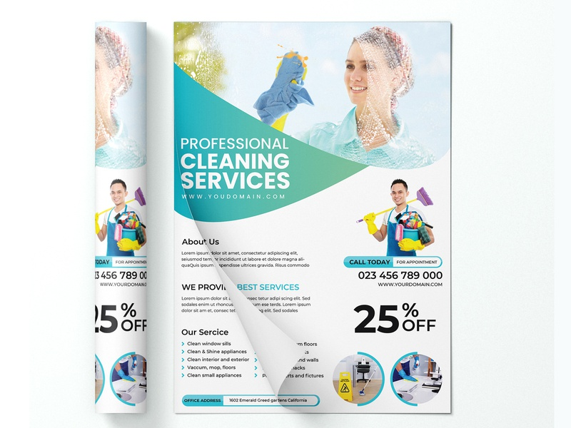 Cleaning  Service Flyer flyer design template flyer design housekeeping house cleaner home cleaning domestic cleaning dirty work commercial cleaning cleaning company clean design business promote cleaning service