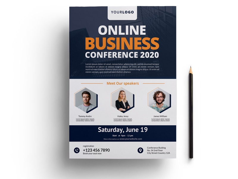 Online Business Conference Flyer marketing multipurpose corporate flyer flyer tamplate business flyer business sotution business events in dubai business meeting online conference conference flyer template