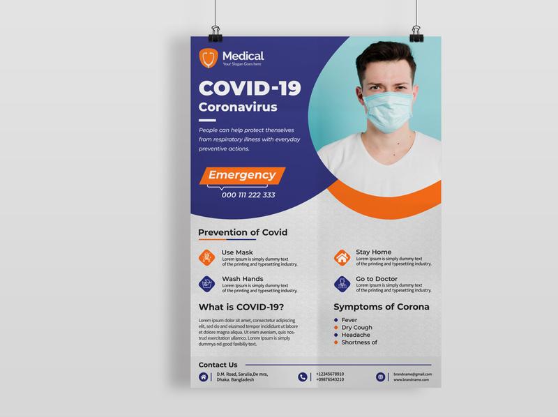 Covid 19 Awareness Flyer corona virus corporate fasion branding medical flyer flyer artwork flyer template flyer design covid19