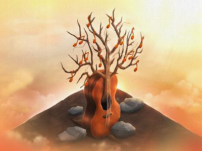Roots music classicalguitar roots digitalillustration digitalpainting digitalart graphicart illustration art