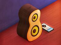 guitar-shaped speaker
