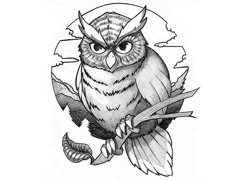 tattoo design owl by oliver m ller dribbble dribbble Easy Owl Drawings tattoo design owl tattoo design owl pencil drawing