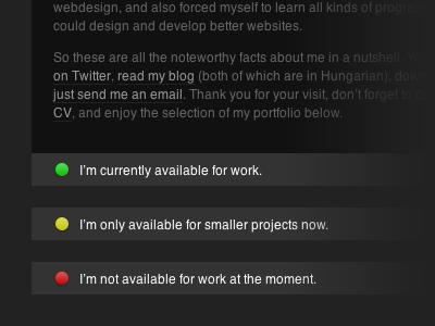 Availability matkovsky.com grey black dark badge availability website