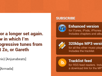 Matt P Music Podcast 2013 web buttons icons texture orange matt p music podcast roboto redesign redesign of the redesign