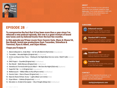 Matt P Music Podcast 2013 redesign of the redesign redesign roboto matt p music podcast orange texture icons buttons web