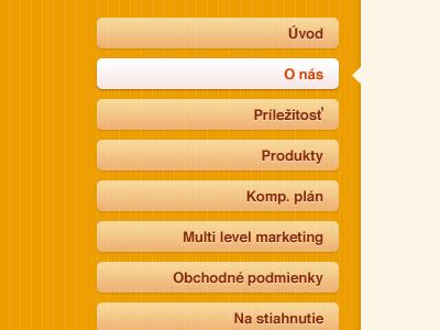A simple, editable, and extendible menu menu orange white web slovak