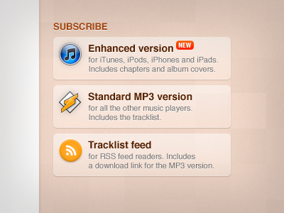 Subscribe matt p music podcast orange texture icons buttons web
