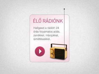 Live Radio widget látszótér web widget radio gradient noise