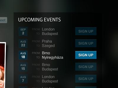 Upcoming Events widget with :hover treatment helvetica dark vista sans minimal web webdesign client work