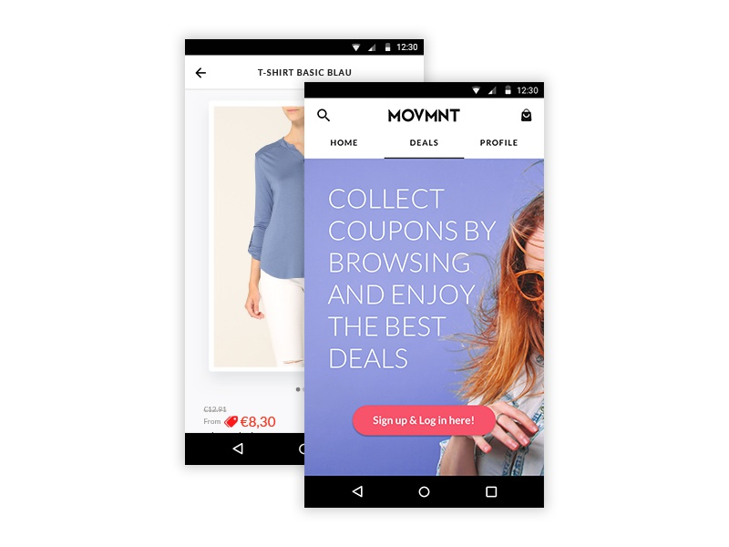 New Branding of MOVMNT Android's App marketplace zalando ux ui app ecommerce white black interface fashion movmnt branding