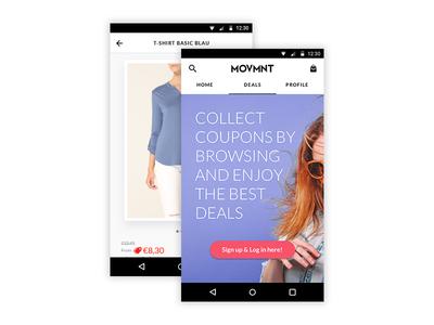New Branding of MOVMNT Android's App marketplace zalando ux ui app ecommerce white black interface fashion movmnt branding