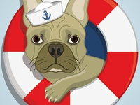 French Bully Captain Illustration
