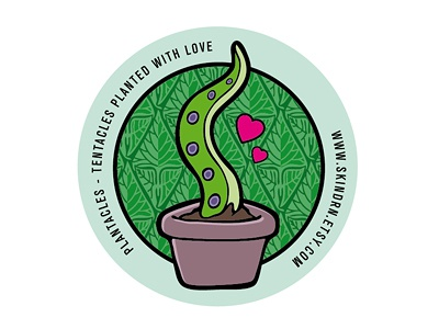Plantacles - Planted Tentacles Sticker tentacle plants creepy horror flower pot flower hearts sticker