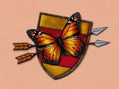 Butterfly Crest tattoo illustration design arrow crest butterfly tattoo