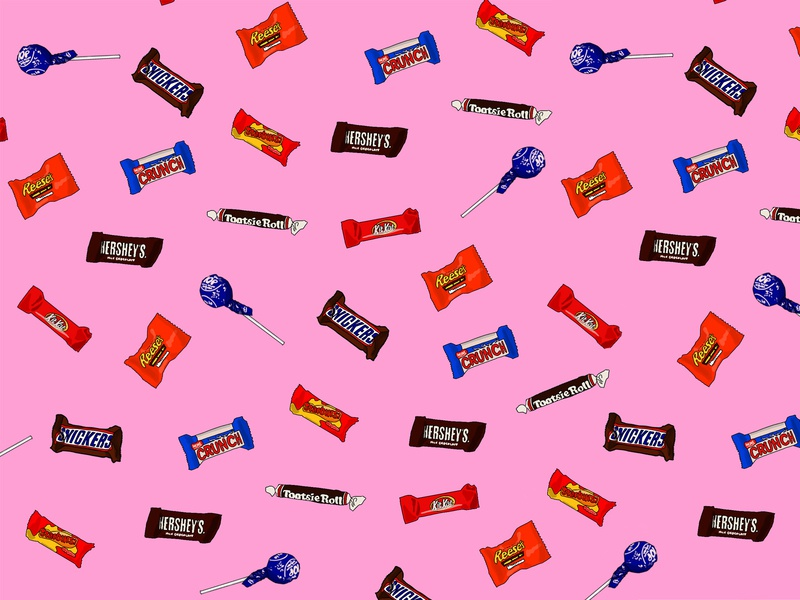Tossed Candy repeat pattern print candy bar candy food ux summer icon colorful illustration branding graphic design graphic design