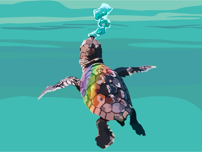 Baby Turtle - Save our Oceans save the planet prism design graphic graphic design branding illustration illustrator coloful summer logo icon turtle sealife wwf ocean ocean life