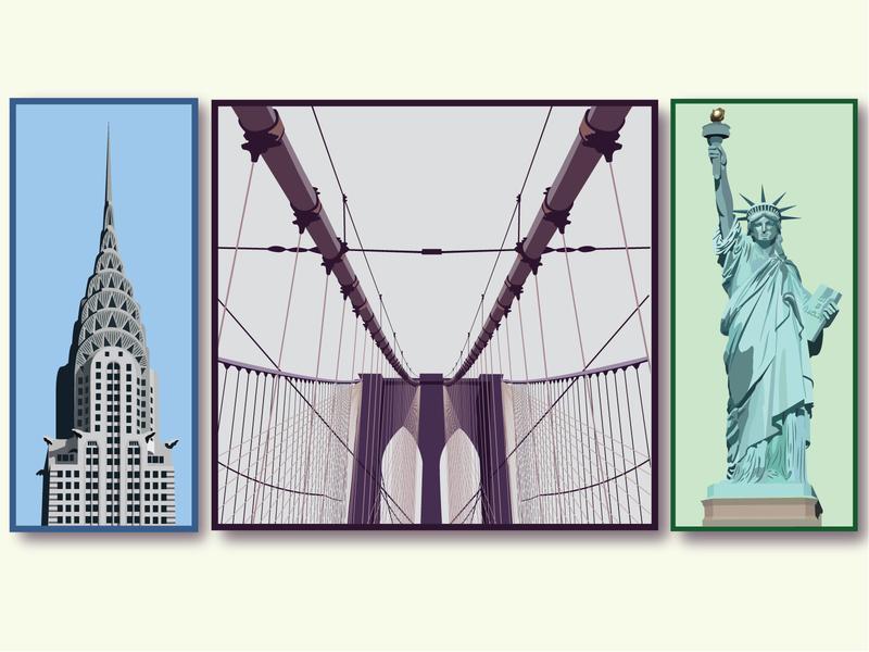 NYC Illustrations landmarks nyc statue of liberty brooklyn bridge chrysler building new york city new york logo vector summer colorful illustration branding graphic design graphic design