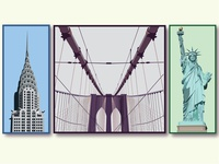 NYC Illustrations landmarks nyc statue of liberty brooklyn bridge chrysler building new york city new york logo vector summer colorful illustration branding graphic design graphic design