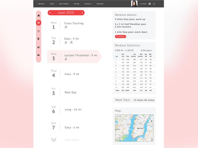 Running App Redesign calendar redesign ux design running app running web branding app ui ux graphic design graphic design