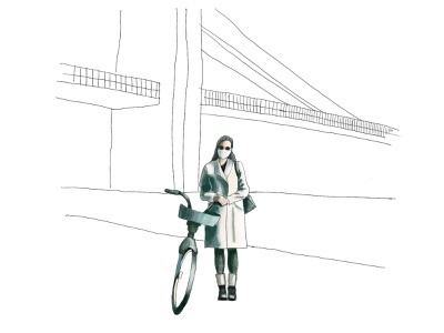 painting bike ride bike nyc self portrait digital painting digital paint brooklyn bridge colorful illustration branding graphic design graphic design
