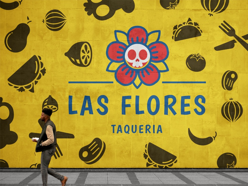 Las Flores Taqueria taco restaurant adobe after effect mazatlan graphic designer tacos mexico colors identity graphic deisgn art logo design logo branding brand identity illustration design adobe photoshop graphic design adobe illustrator