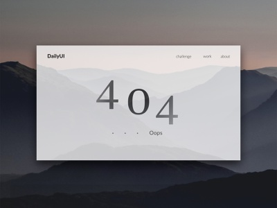 DailyUI 008 404page website web ui ux design dailyui