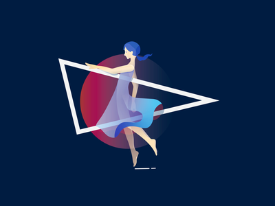 Illustration Girl With A Triangle vector illustration