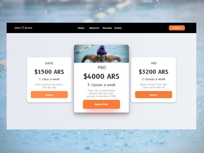Pricing - Service Design Club's UI Marathon (Challenge 8) web mid basic pro price pricing swimming design argentina user interface uiux daily ui dailyui challenge