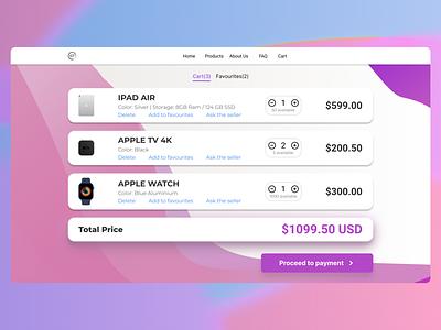 Shopping Cart -Service Design Club's UI Marathon (Challenge 12) purple violet ecommerce mac apple argentina user interface ui uiux daily ui dailyui challenge