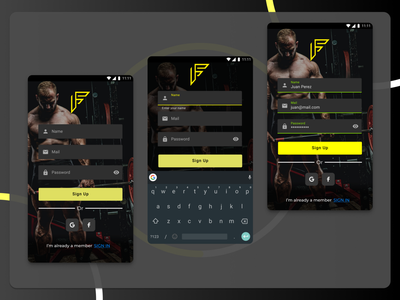 Sign Up - Service Design Club's UI Marathon (Challenge 1) sports sport yellow figma interface sign in sign up signin signup gym design argentina ui user interface uiux daily ui dailyui challenge