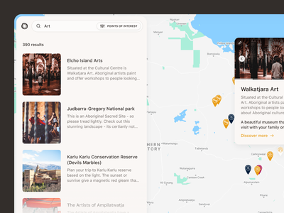Our Songlines — Sidebar sf pro airbnb clean ui map view map website design ux desktop white clean interface ui