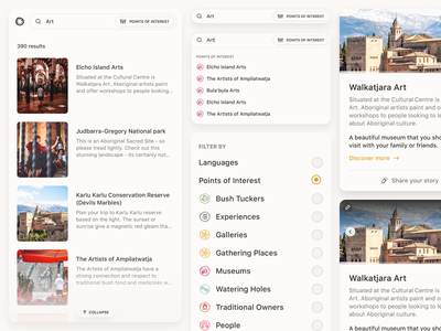 Our Songlines —Components website sf pro shadows card dropdown fly-out filters search results sidebar search map clean ui styleguide components desktop white clean interface ui