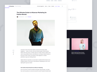 Primetime - Blog post blog ui images interface fashion significa white blue gilroy merriweather clean desktop