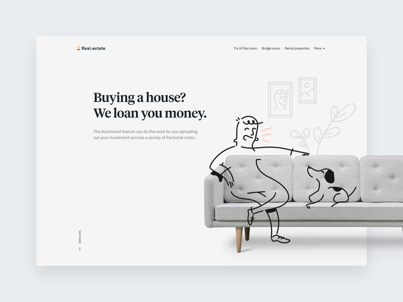 Real estate Hero family hero website ibm tiempos clean significa illustrations grey white ui