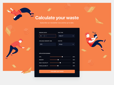 Unidle - Homepage calculator devices form toggle calculator blue persons orange illustration ux interface ui