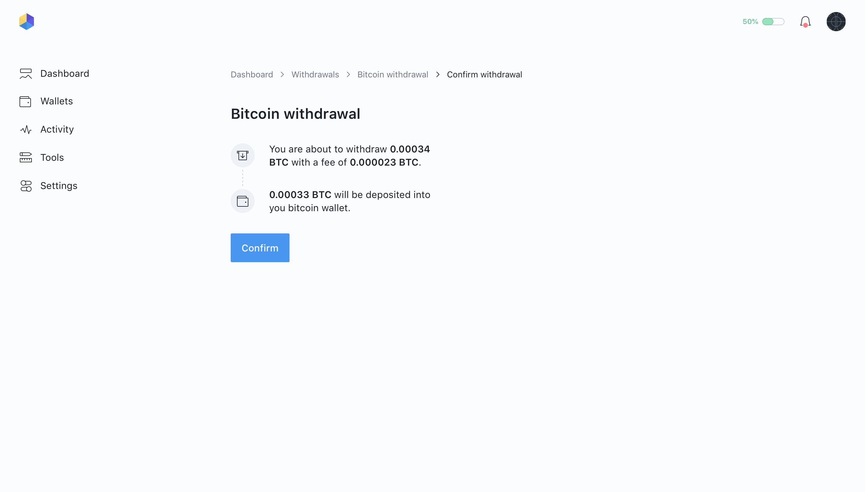 04   withdrawals   bitcoin withdrawal    confirm 2x