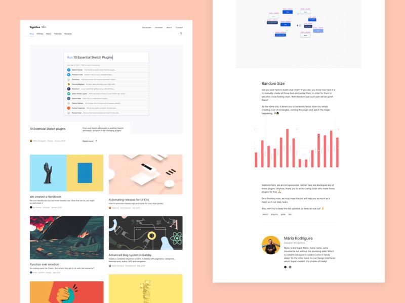 Blog @ Significa.co medium plugins sketch article minimal blog design desktop white clean interface significa ui