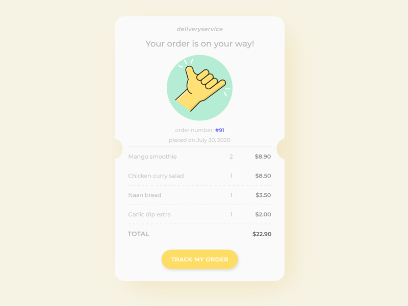 Receipt Concept receipt ui daily ui challenge pastel yellow receipt concept icon design yellow ui uiux daily ui 017 dailyui