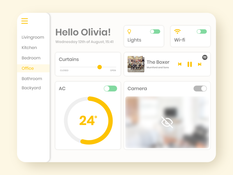 Home Monitoring Dashboard uiux ui design dashboard ui tablet ui tablet design ipad ui ipad design yellow ui dailyui daily ui 021