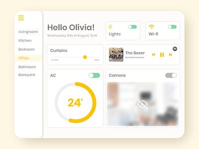Home Monitoring Dashboard uiux ui design dashboard ui tablet ui tablet design ipad ui ipad design yellow ui dailyui daily ui 021