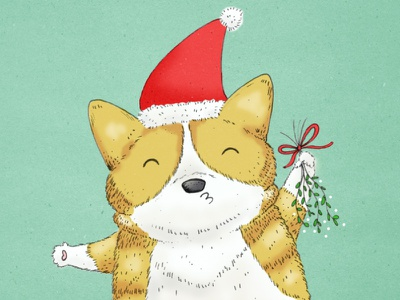 Mistletoe! cute santa hat drawing illustration kiss me pucker up pets dog corgi holidays christmas mistletoe