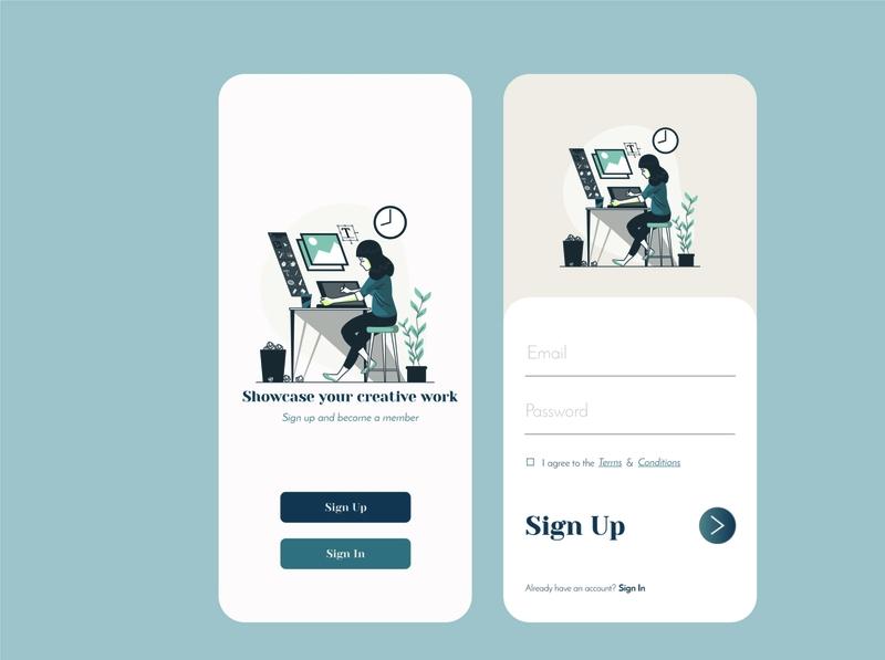 Sign In / Sign up UI art minimal app illustration animation ux vector ui