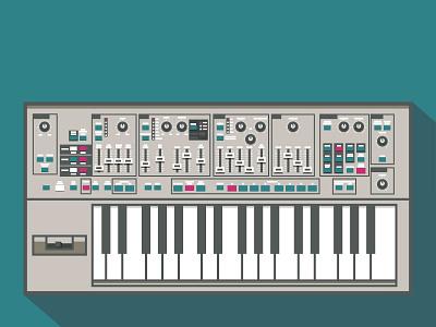 synth shadows piano keyboard digital illustration color flat illustrator illustration music synth