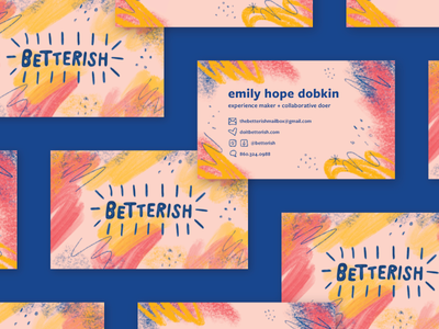 Betterish identity logo pattern bubbly colorful color fun blog branding illustration cards business cards