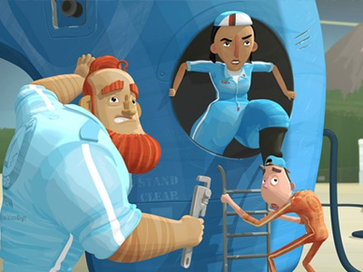 Tubb's Ground Crew finger industries 3d shaders render characters character design