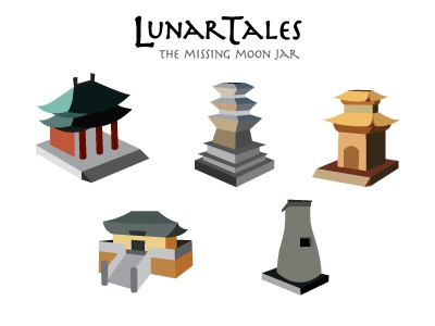 Lunar Tales Isometric Forms mobile app game isometric prototype concept buildings korea landmarks